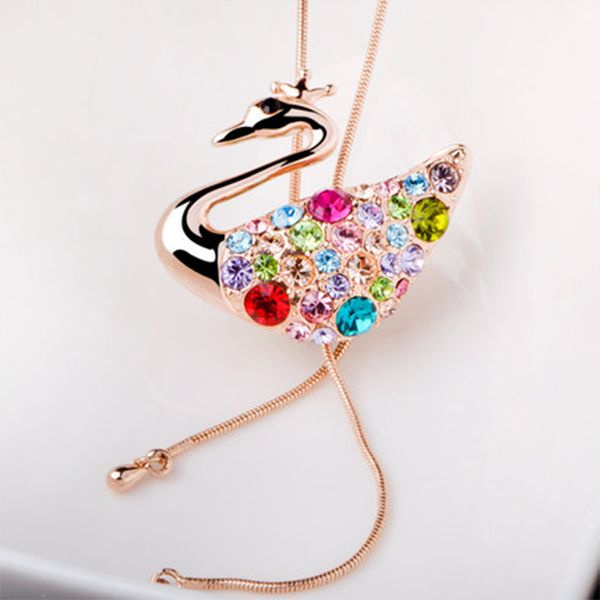 Crystal Swan Princess Lariat Necklace
